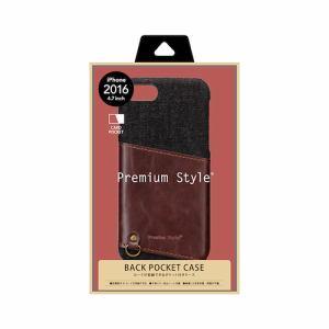PGA PG-16MCA04BK iPhone 7 カードポケット付きハードケース Premium Style  ブラック