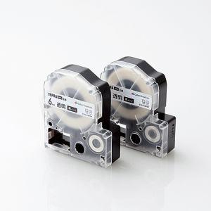 カラークリエーション CTC-KST6K-2P キングジム「テプラ」PROシリーズ用テープカートリッジ(透明テープ/黒文字/6mm) 2個入