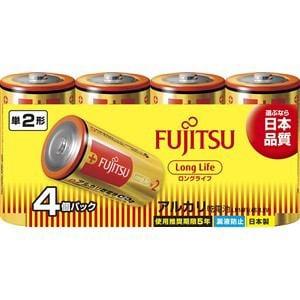 富士通 アルカリ乾電池 ロングライフタイプ 単2形 1.5V 4個パック LR14FL(4S)