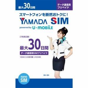 ヤマダSIM データ通信用SIMプリペイド 30日間 ナノSIM
