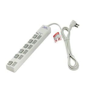 ELPA LEDランプスイッチ付タップ 上挿し 6個口 2m WLS-LU6200RS