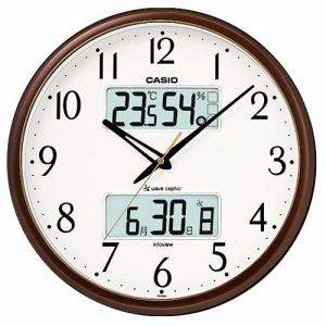 カシオ  ITM-650J-5JF  電波時計(壁掛け時計)  生活環境お知らせ(湿度計 / 温度計)タイプ