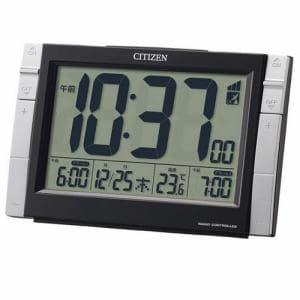リズム時計 8RZ150-002 CITIZEN パルデジットワイドDS 温度計付電波目覚し時計 電子音アラーム(Wアラーム) ライト付