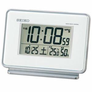 セイコークロック デジタル目覚まし時計 電波クロック ホワイト SQ767W