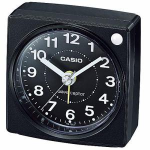 カシオ TQ-750J-1JF 電波目覚まし時計 ブラック スヌーズ 秒針停止機能付