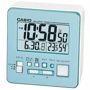 カシオ DQD-805J-2JF 置時計 パールブルー スヌーズ機能 温度・湿度計付 デジタル電波モデル
