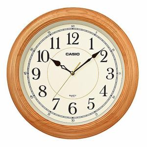 カシオ IQ-121S-7JF 掛時計 木枠 スムーズ秒針 シンプルデザインモデル
