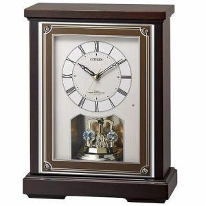 リズム時計 8RN401-006 CITIZEN 電波置時計 茶色半艶仕上(白) 連続秒針 高音質メロディ(音量調節・モニター付)
