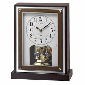 リズム時計 8RY413-006 CITIZEN 電波置時計 茶色半艶仕上(白) 連続秒針(夜眠る秒針)