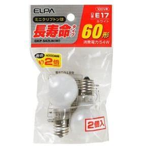 ELPA 長寿命ミニクリプトン球 60W形 E17 ホワイト 2個入 GKP-542LH(W)