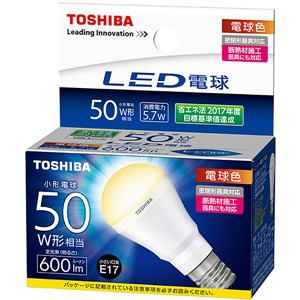 東芝 LED電球 ミニクリプトン形 密閉器具対応 電球色 E17 600ml LDA6L-H-E17/S50W/2