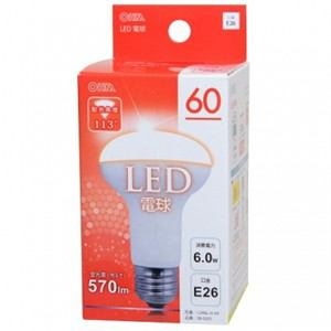 オーム電機 LED電球 広配光 密閉器具対応 レフランプタイプ E26 電球色 LDR6L-H A9