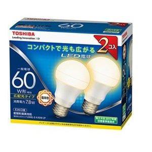 東芝 調光器非対応LED電球(一般電球形・全光束810lm/電球色・口金E26) 2個入り LDA8L-G-K/60W-2P