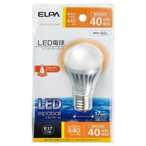 ELPA LED電球 ミニクリプトン球型 全光束440lm E17 電球色 LDA5L-H-E17-G409