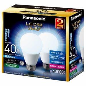 パナソニック 調光器非対応LED電球 「LED電球プレミア」 (一般電球形・全光束485lm/昼光色相当・口金E26/2個入) LDA4D-G/Z40E/S/W