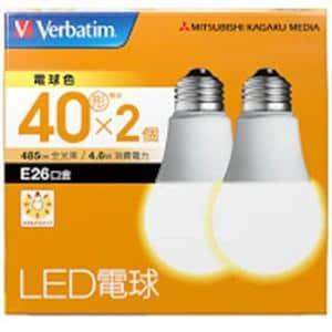 三菱ケミカルメディア LDA5LGV4X2 LED電球26口金 電球色 40W相当 2個入り