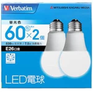 三菱ケミカルメディア LDA8DGV4X2 LED電球26口金 昼光色 60W相当 2個入り