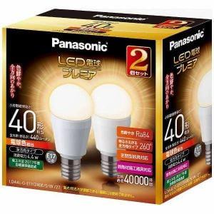 パナソニック LDA4LGE17Z40ESW2T 電球色相当 E17口金 LED電球プレミア 440lm 2個セット