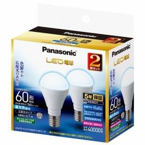 パナソニック LDA7DGE17K60ESW22T LED電球 6.7W 2個セット(昼光色相当)