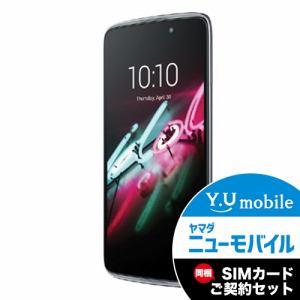 ALCATEL 6045F-2AALJP7 LTE対応 SIMフリースマートフォン 「ALCATEL ONETOUCH IDOL 3」 ダークグレー&Y.U-mobile ヤマダニューモバイルSIMカード(後日発送)セット