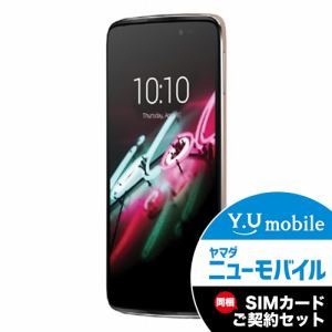 ALCATEL 6045F-2BALJP7 LTE対応 SIMフリースマートフォン 「ALCATEL ONETOUCH IDOL 3」 ソフトゴールド&Y.U-mobile ヤマダニューモバイルSIMカード(契約者向け)セット