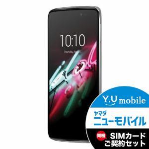 ALCATEL 6045F-2CALJP7 LTE対応 SIMフリースマートフォン 「ALCATEL ONETOUCH IDOL 3」 メタリックシルバー&Y.U-mobile ヤマダニューモバイルSIMカード(契約者向け)セット