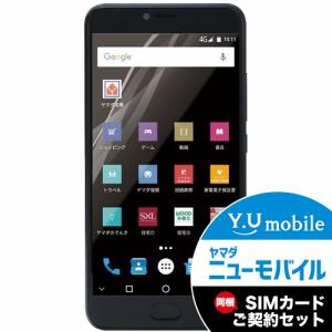 ヤマダ電機オリジナルモデル EP-171DX/B Android搭載SIMフリースマートフォン EveryPhone DX ブラック&Y.U-mobile ヤマダニューモバイルSIMカード(後日発送)セット