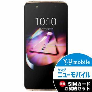 ALCATEL 6055D-2BALJP7-5 SIMフリースマートフォン Android 6.0 5.2型 「ALCATEL ONETOUCH IDOL4」 ゴールド&Y.U-mobile ヤマダニューモバイルSIMカード(契約者向け)セット
