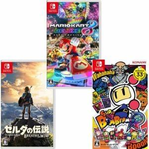 【Nintendo Switchソフト】「マリオカード8デラックス」「Super Bomberman R」「ゼルダの伝説ブレスオブザワイルド 通常版」セット