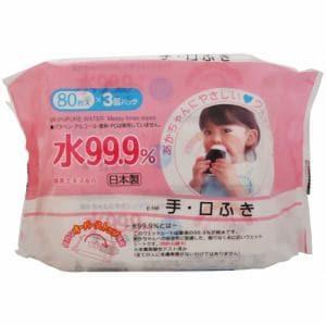 レック(LEC) アイプラス 水99.9% 手・口ふき (80枚×3個) 【ベビー・キッズ】