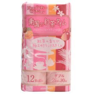 日清紡 南国の紅茶タイム ピンク トロピカルフルーツティーの香り 30m×12ロール ダブル 【日用消耗品】