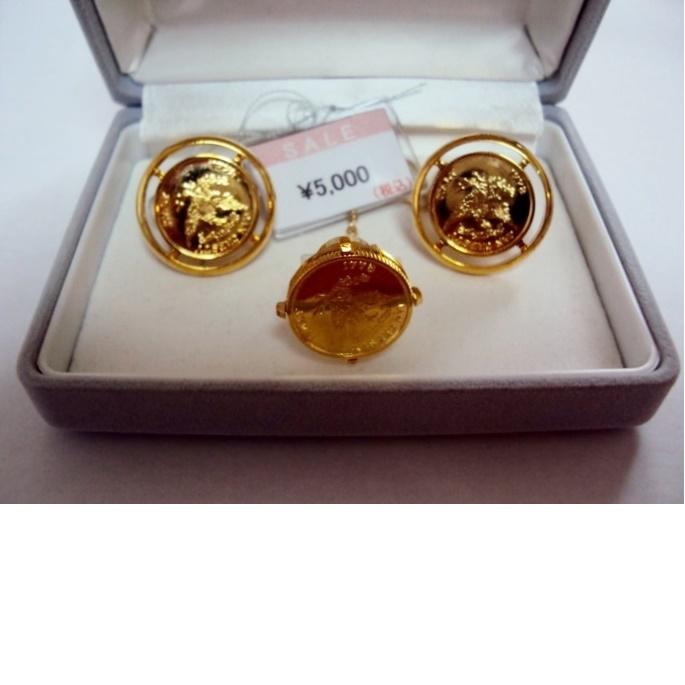 【国産・在庫処分】コイン型カフス&タイタックセット¥5000の品