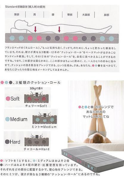 ★新作!フランスベット ウレタンマットレス 硬さを並べ替えて寝心地をアレンジできるネムロールTU202