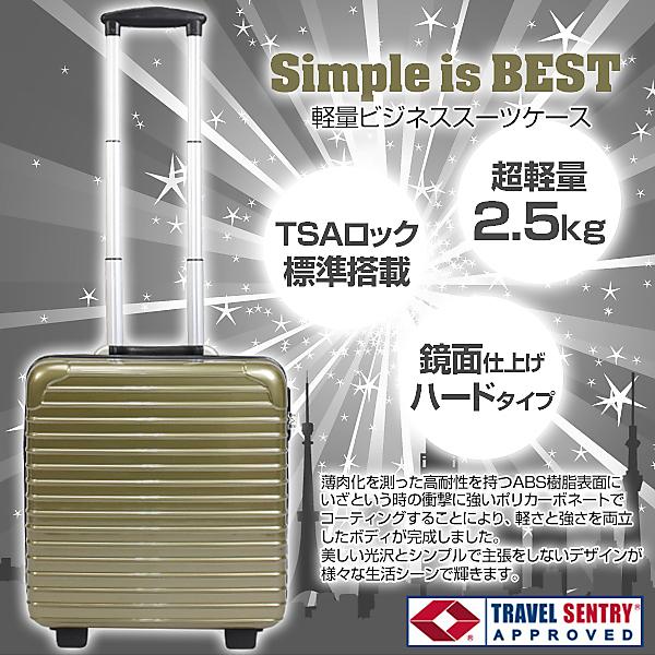 ★限定商品!★TSAロック搭載・36L・スーツケース★【金】DC-8007-GD
