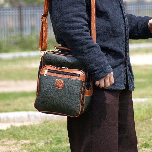 合皮/縦型/ショルダーバッグ/メンズ/ビジネスバッグ 立型26cm 16223カーキ