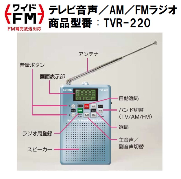 ★【新品】テレビ音声/FM/AMラジオTVR-220