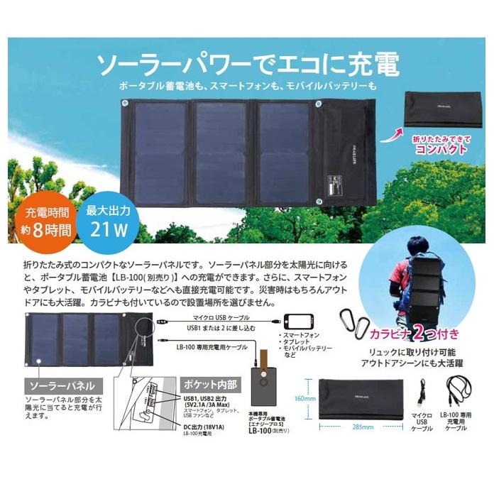 ★ポータブル蓄電池【エナジープロS】専用ソーラーパネルLBP-21