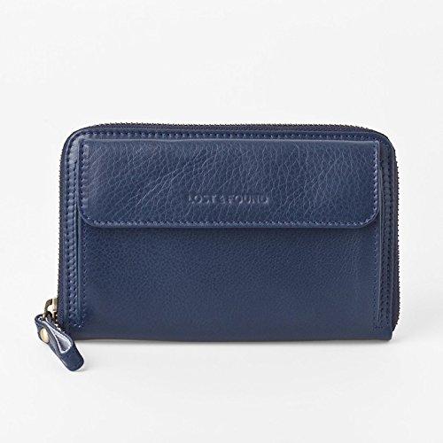 【送料無料】[スモールサイズ] スマホ入れ、お財布になる 「スマホウォレット」 iPhone5, 6など小さいスマホ向け / スイス発のカーフレザー製ウォレットマリンブルー