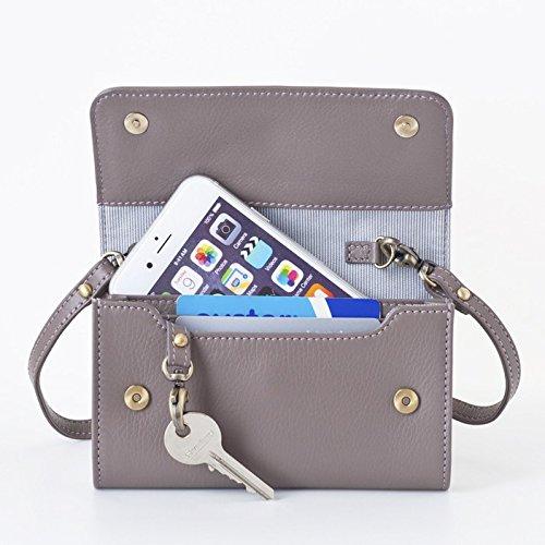 【送料無料】[スモールサイズ] スイス発のスマホ入れとお財布にもなるショルダーミニバッグ iPnone5, 5Sサイズ向け/ 鍵や定期入れ用のフック付きグレイ