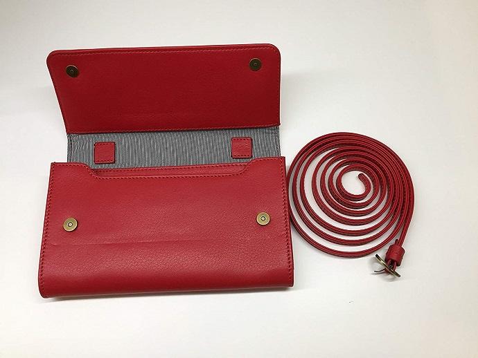 【送料無料】[ビッグサイズ] スイス発のお財布にもなる 「ショルダーミニバッグ・プラス」 iPhone 6Plus, 7Plusなど大きいスマホ向け / カーフレザー製ウォレット タンジェリンレッド