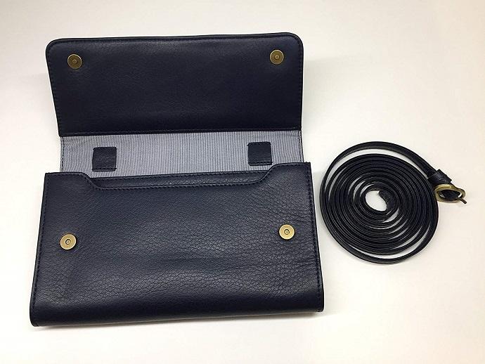 【送料無料】[ビッグサイズ] スイス発のお財布にもなる 「ショルダーミニバッグ・プラス」 iPhone 6Plus, 7Plusなど大きいスマホ向け / カーフレザー製ウォレット マリンブルー