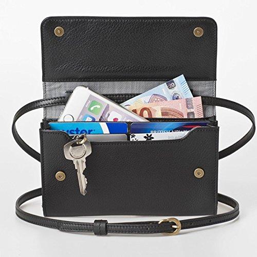 【送料無料】[ビッグサイズ] スイス発のお財布にもなる 「ショルダーミニバッグ・プラス」 iPhone 6Plus, 7Plusなど大きいスマホ向け / カーフレザー製ウォレット ブラック