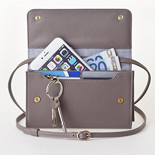 【送料無料】[ビッグサイズ] スイス発のお財布にもなる 「ショルダーミニバッグ・プラス」 iPhone 6Plus, 7Plusなど大きいスマホ向け / カーフレザー製ウォレット グレイ