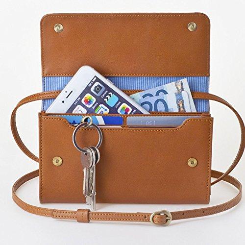【送料無料】[ビッグサイズ] スイス発のお財布にもなる 「ショルダーミニバッグ・プラス」 iPhone 6Plus, 7Plusなど大きいスマホ向け / カーフレザー製ウォレット キャラメル