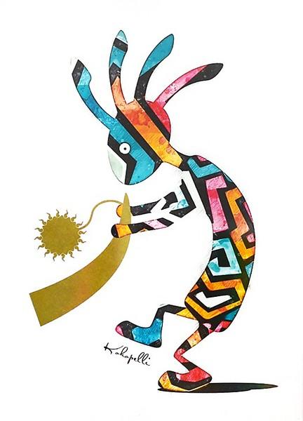 送料無料♪【不思議なココペリー太陽の角笛ー】金運(全体運)を育てる開運絵画 ※メール便発送