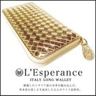 【L'Esperance/レスペランス 編み込みラウンドファスナー長財布(ゴールド)】