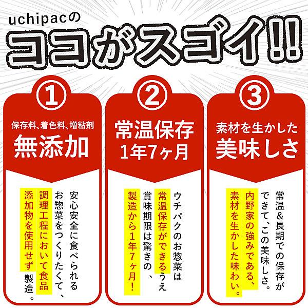【送料無料】[内野家]常温保存できる手作りお惣菜【uchipac】こだわりの和惣菜 10種 お試しセット[常温]【3~4営業日以内に出荷】