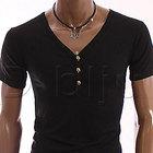 【送料無料】スカルボタンVネックTシャツ(ブラック)【メール便】M