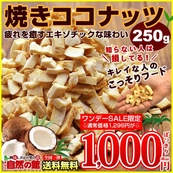 送料無料 ココナッツチップス250g 贅沢な焼きココナッツ 【ワンデー限定衝撃価格】3