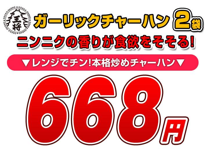 ガーリックチャーハン2袋入 通常価格 830円のところ 30%OFF 578円(税込)